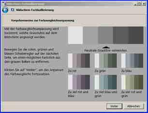 Sie müssen also die Schieber so einstellen, dass Sie möglichst in den grauen Balken keinen Farbstich sehen können: